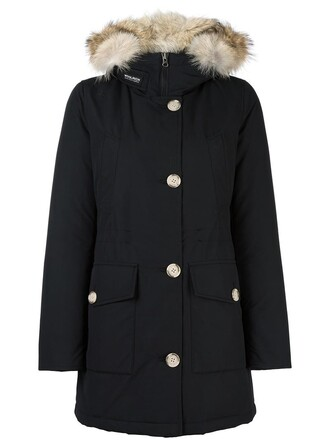 parka women cotton black coat