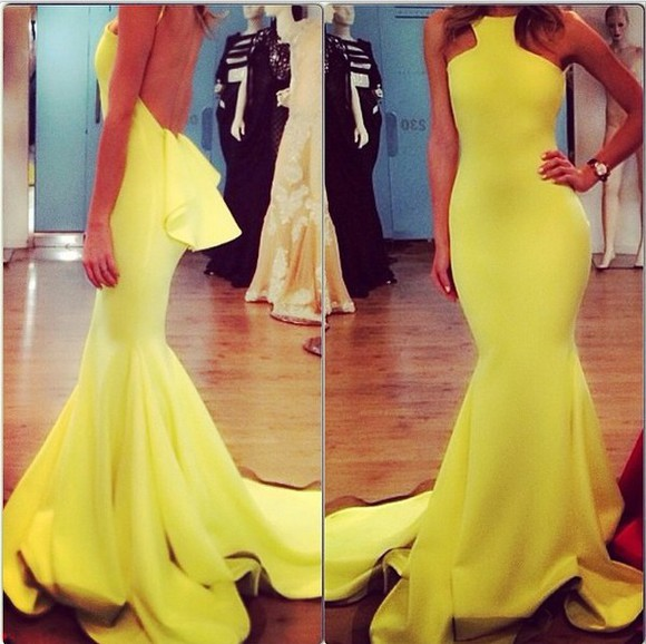 prom dress evening dress ruffle yellow dress mermaid
