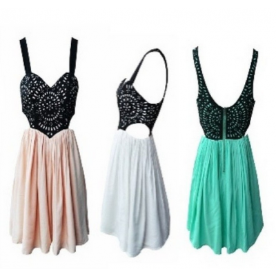 Buy Fashion Clothing -  Flower Cut Sweet Fashion Dress - Dresses