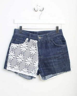 LEVI VINTAGE High Waisted Blue Flower Mesh Shorts - In Love With Fashion
