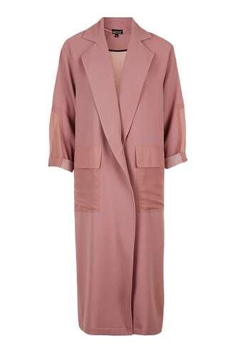 coat dusty pink pink coat duster coat minimalist topshop