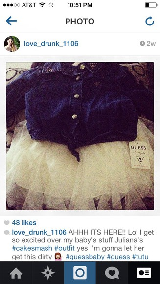 skirt tutu blouse denim crop top
