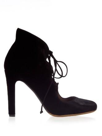 pumps lace velvet black shoes