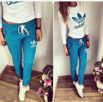 jumpsuit white tracksuit addidas originals girls blue