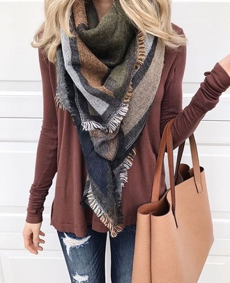 scarf burnt orange navy