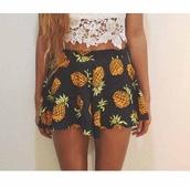 shorts,pineapple shorts,cute,pineapple,top