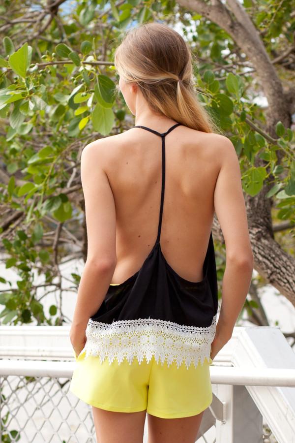 shorts skorts yellow yellow skort black black top white lace cute open back top asymmetrical blouse