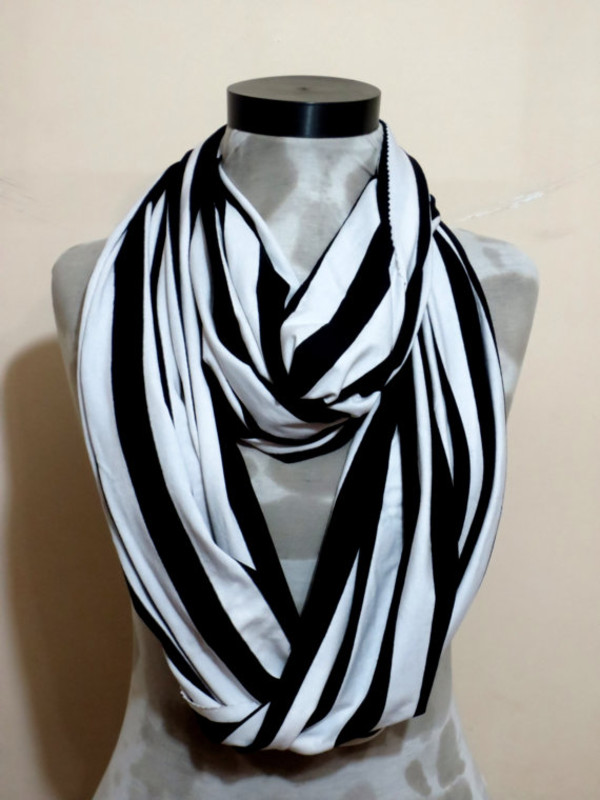 scarf mens scarf scarves striped scarf striped infinity scarf scarfs or scarves black white scarf