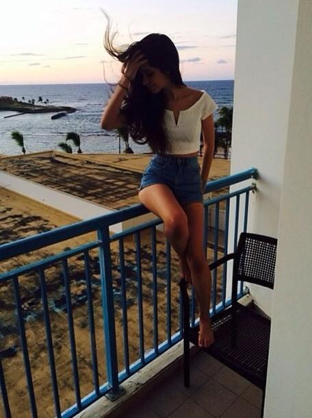 shirt High waisted shorts shorts cropped white camila cabello