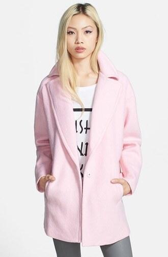 coat cute nude pastel pink pastel coat blogger fashion blogger fashion ootd potd blonde hair fancy pastel pink