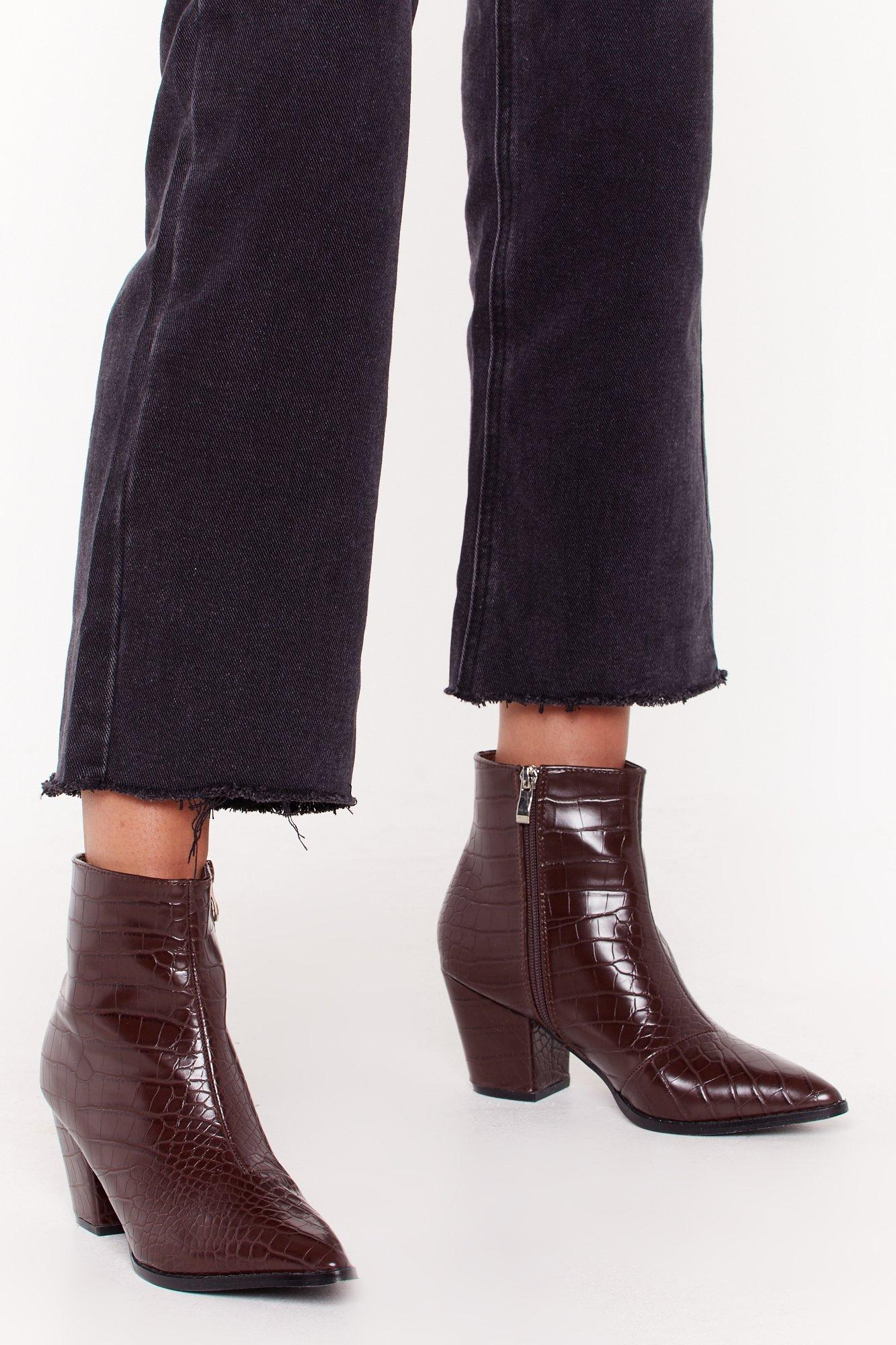 Pop Croc and Drop Faux Leather Block Heel Boots | Nasty Gal