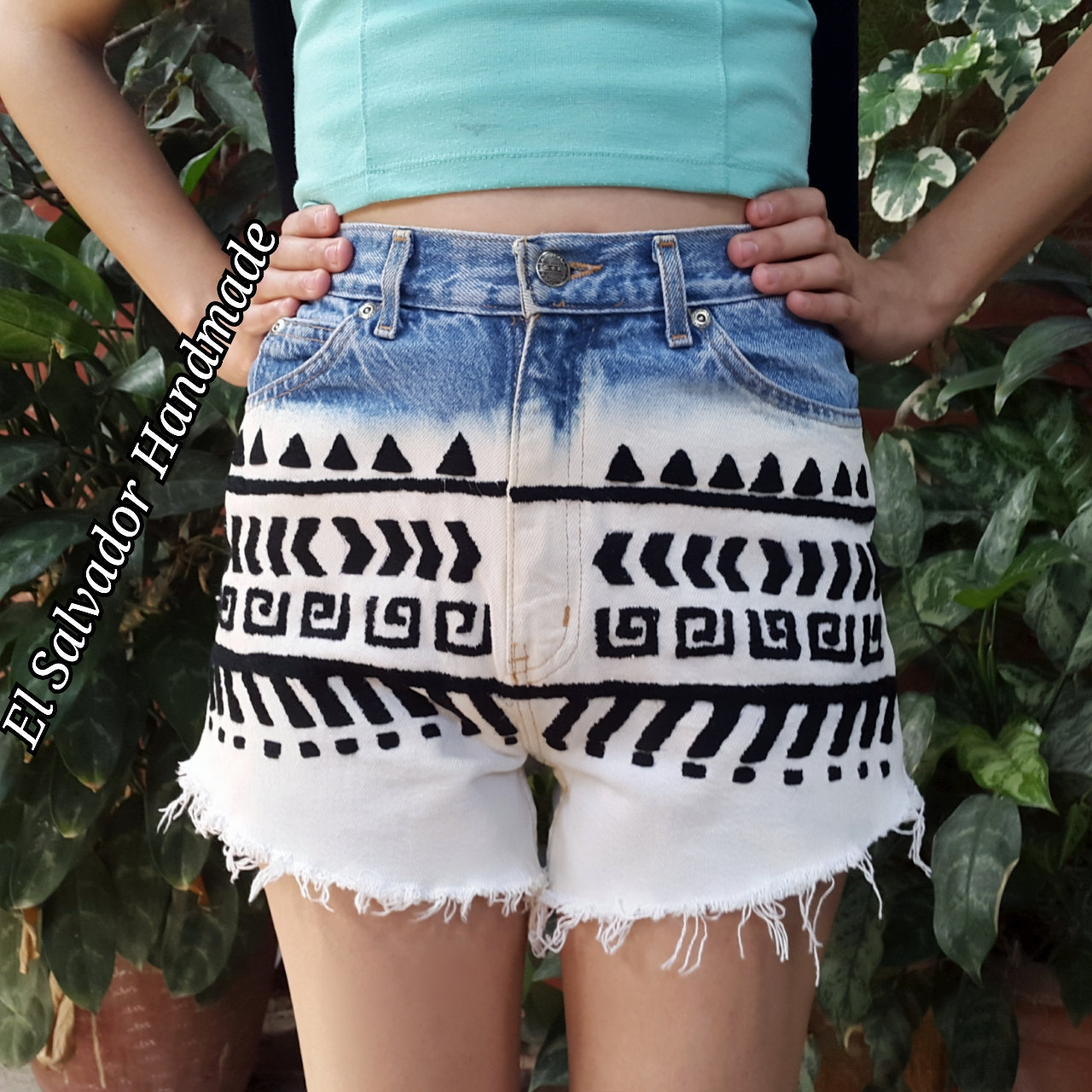 Aztec tribal distressed bleached shorts high waisted shorts arizona jean (ready to ship)
