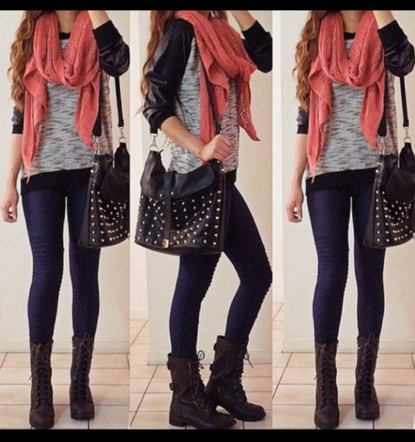 shoes orange bag coat blouse scarf t-shirt pants shirt leggings outfit outfit long sleeves boots jacket black bag rivets sweater