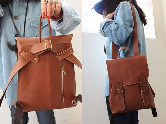 bag leather vintage canvas backpack