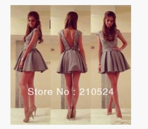 dress backless grey prom short short dress prom dress