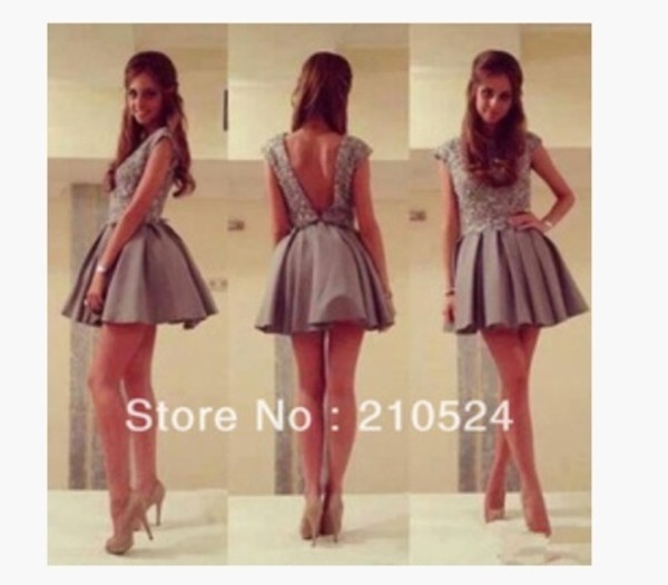 dress grey prom short short dress prom dress backless