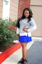 naja diamond,blogger,blouse,bag,embroidered,blue skirt,curvy,flare skirt