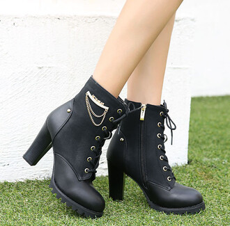 shoes lace up boots zip fall outfits winter outfits chain black grunge cool footwear