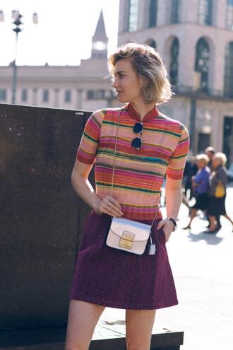plum striped top mini bag mini skirt mini shoulder bag