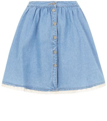 Blue denim button up skater skirt