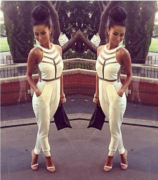 New 2014 summer women sexy bandage stitching sheer hollow out sleevess female one peice Jumpsuits black/white Elina's shop-in Jumpsuits & Rompers from Apparel & Accessories on Aliexpress.com
