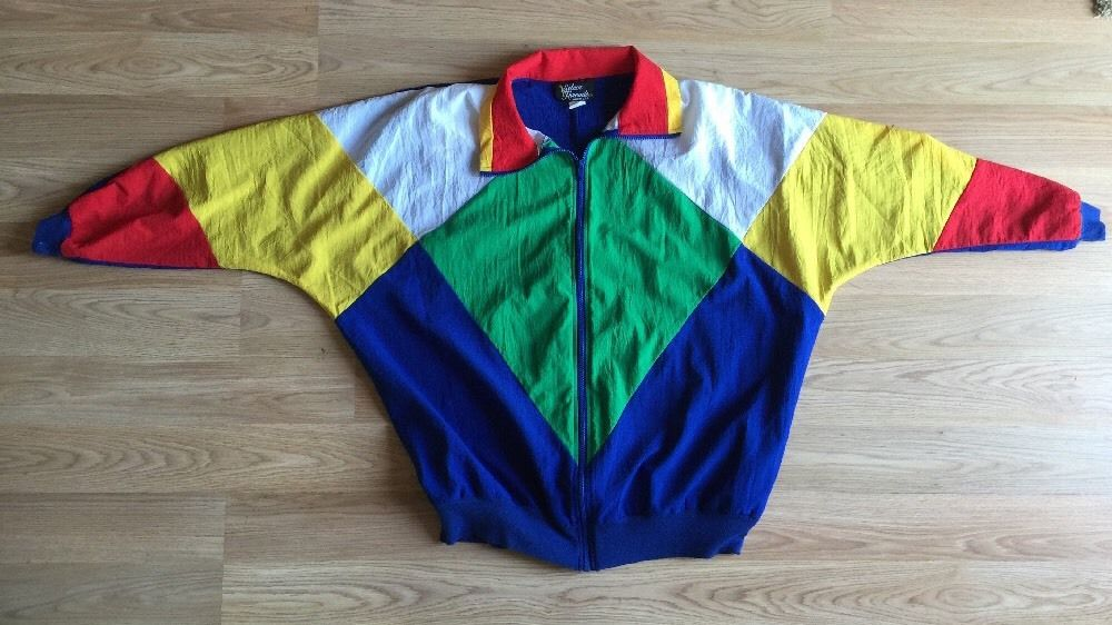 bc76900b6 Vintage Womens Color Block Red Yellow Blue Windbreaker Jacket Large 80s 90s