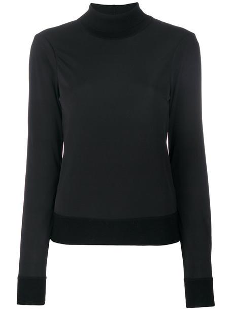 Joseph - contrast trim turtleneck - women - Polyester/Spandex/Elastane/Merino - L, Black, Polyester/Spandex/Elastane/Merino