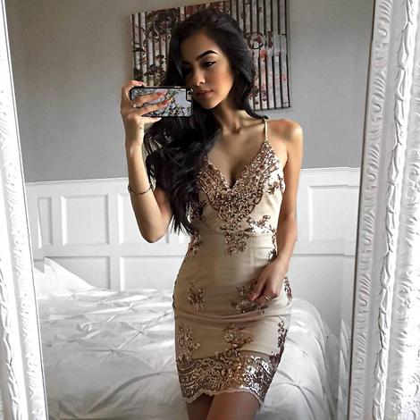 Sequin Embellished Bandage Dress Nude