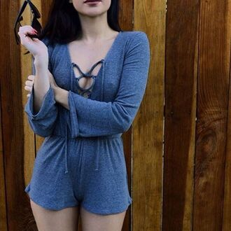 romper ribbed ribbed romper jumpsuit grey romantic lace up lace up jumper gojane