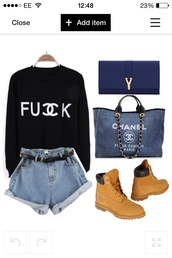 sweater,belt,shorts,bag,shoes