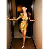dress,gold,metallic,shiny,long sleeve dress,long sleeves,mini dress,new year's eve