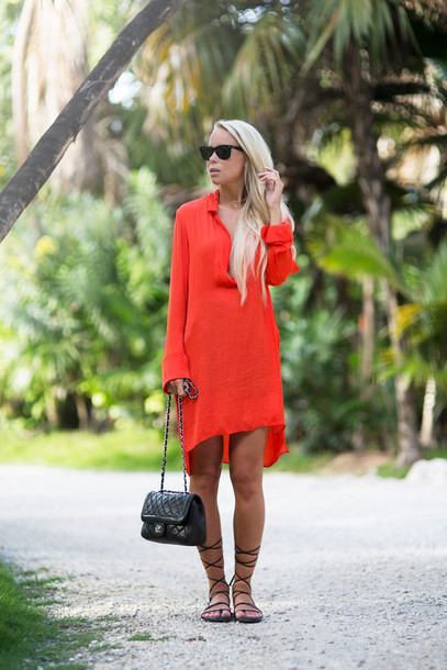 victoria tornegren blogger gladiators red dress blouse shoes bag sunglasses