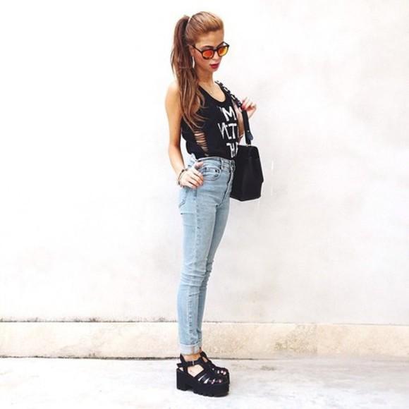 shoes black sunglasses jeans crop tops bag cut out ankle boots