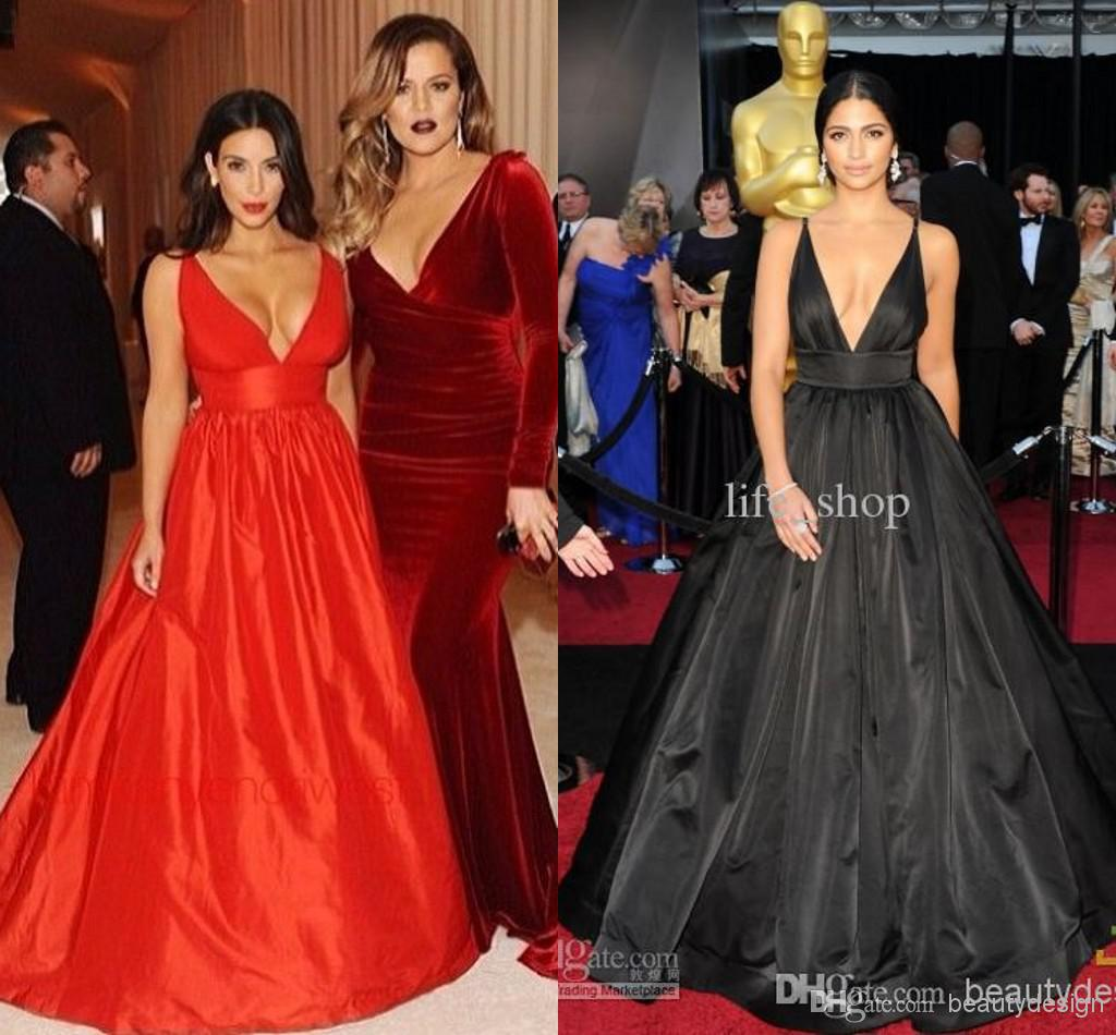 Discount 2014 super sexy black satin formal evening prom gowns deep v neck backless sleeveless floor length party red carpet celebrity dresses online with $115.73/piece