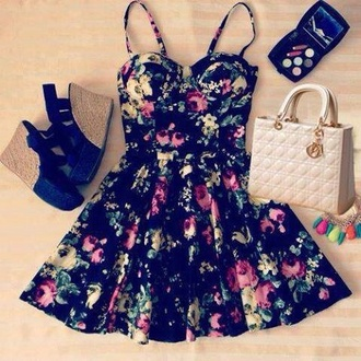dress floral girly fashion style floral dress black shoes skinny straps summer dress flowers trendy celebrity style acacia brinley undefined wedges roses black dress patterned dress amazing skater skirt little black dress wegdes make-up pink dress pink green dress bag cute