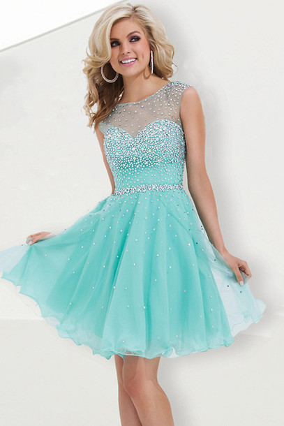 Dress: prom dress, short prom dress, green dress, party dress ...