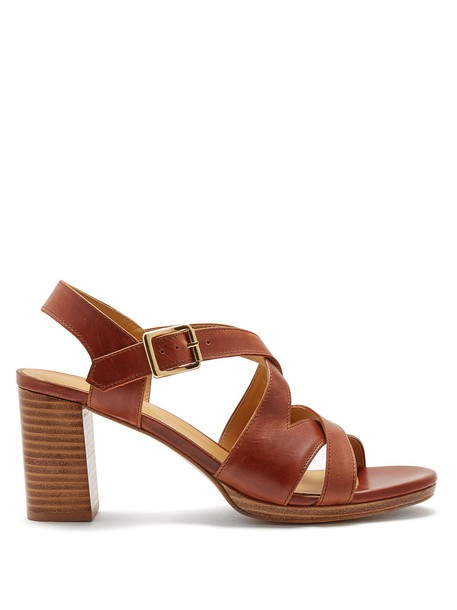 A.P.C. heel sandals leather sandals leather dark tan shoes