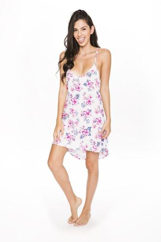 dress frankies bikini beach dress bikini delivery cover up floral pink purple white bikiniluxe