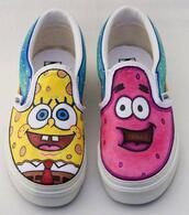 shoes,pink,jaune,rose,tennis,spongebob,patrick,bikini bottoms,basket,yellow
