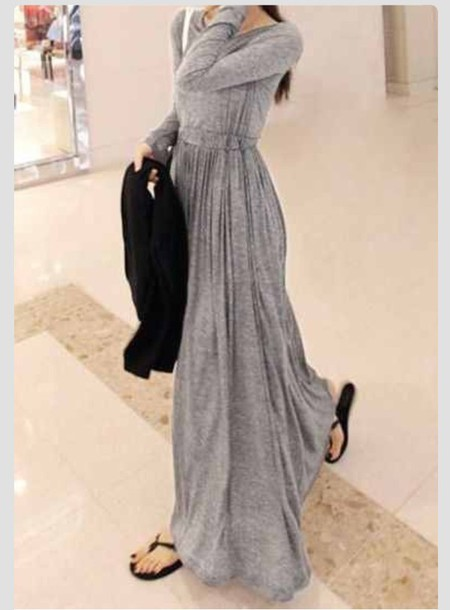 Grey Maxi Maxi Dress Grey Dress Long Sleeve Dress Long Sleeves