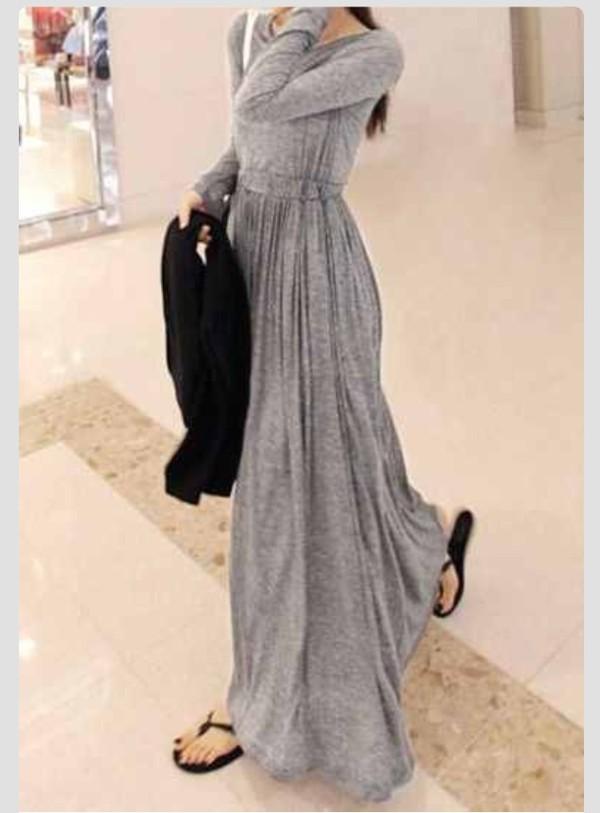 grey maxi maxi dress grey dress long sleeve dress long sleeves winter dress fall outfits