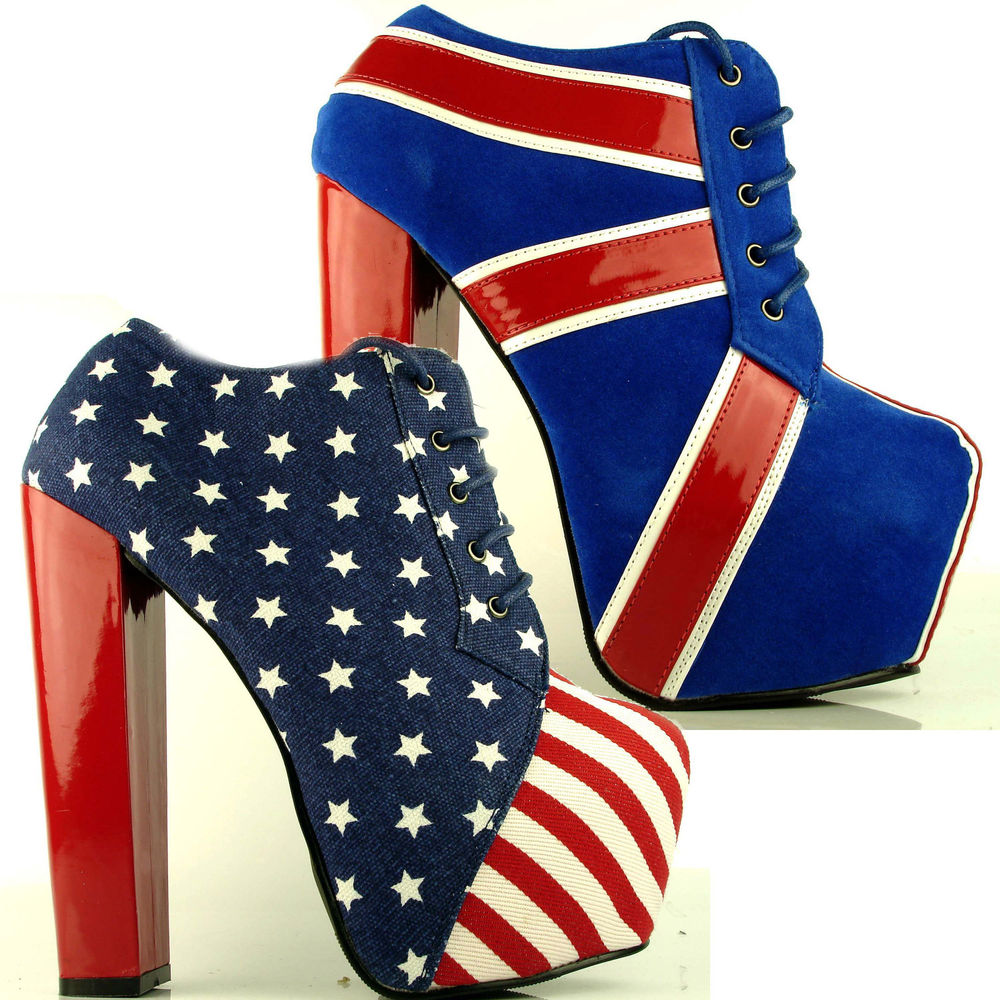 Womens Ladies American Flag Union Jack Concealed Platform High Heel Ankle Boots | eBay