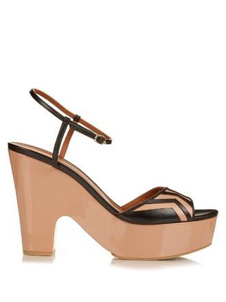 clogs leather tan black shoes