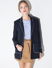 jacket,navy pajama blazer,cute blazer,pixiemarket,fall jacket,fall blazer,36683,the working girl,working girl,cute,business casual,korean fashion,korean style,fall outfits