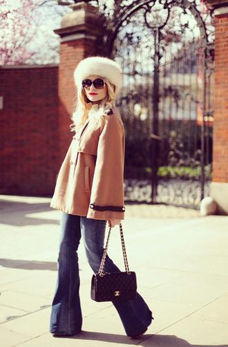 jeans sunglasses hat bag coat rock and roses