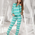Women's Warm Reindeer Printed Tricot Fleece Sweatshirt Sweatpants Set
