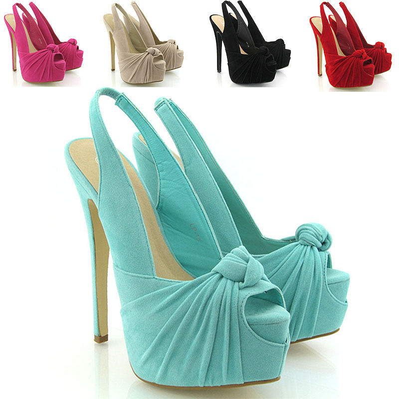 WOMENS PLATFORM HEELS LADIES HIGH HEEL SLING BACK PEEP TOE COURT ...