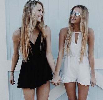 jumpsuit black white rumper girl rumperdress glasses fashion outfit tumblr outfit outfit idea smile