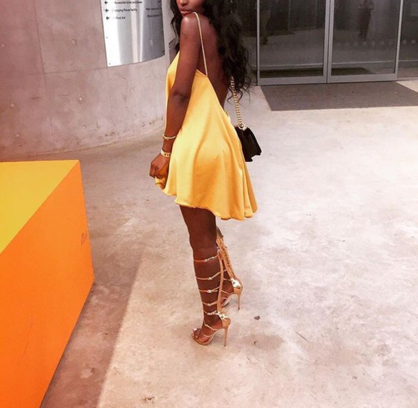 Dress: yellow dress, yellow, gold, heels, strappy heels, lace up ...