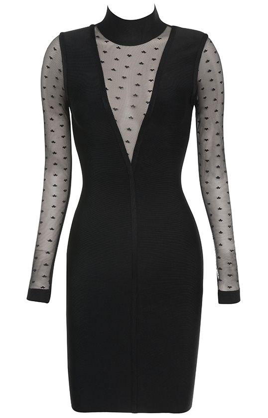 Long Sleeve Mesh Bandage Dress Black